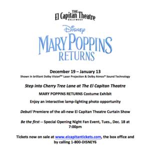 El Capitan To Show Disney's MARY POPPINS RETURNS