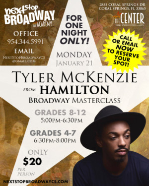 Coral Springs Center For The Arts To Host Broadway Masterclass With Tyler McKenzie From HAMILTON