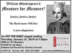 MEASURE FOR MEASURE An Off The Shelf Staged Reading Announced At Tacoma Little Theatre