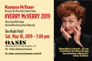 #VERRY MCVERRY 2019 - Maureen McVerry's New Solo Cabaret Show Comes to Oasis