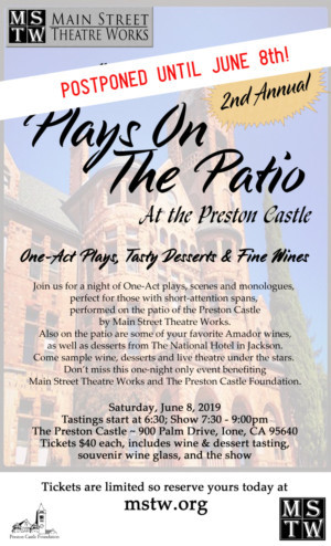 PLAYS ON THE PATIO Has Been Rescheduled Due To Rain!