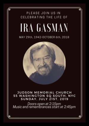 Memorial Will Be Held For Ira Gasman This Summer