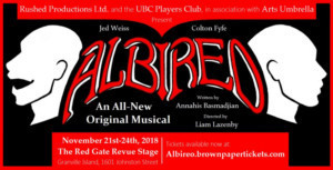 Rushed Productions Presents The World Premiere Of ALBIREO A New Musical