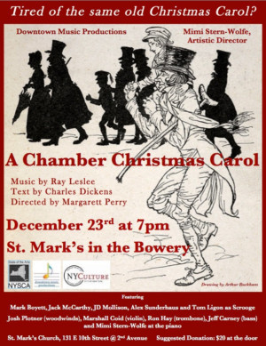 Downtown Music Productions Presents A CHAMBER CHRISTMAS CAROL Dec 23 At St. Marks Church-in-the-Bowery