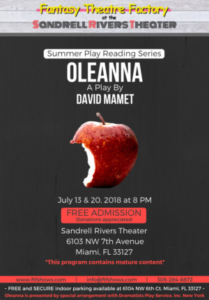 Fantasy Theatre Factory Kicks Off Its Summer Play Reading Series With OLEANNA