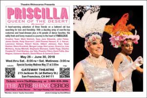 Theatre Rhinoceros Presents PRISCILLA, QUEEN OF THE DESERT – THE MUSICAL