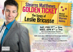 Stearns Matthews Continues #RESIDENCY At Laurie Beechman Theatre With GOLDEN TICKET