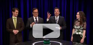 VIDEO: Jimmy Fallon Plays Catchphrase with Andrew Garfield and Rachel Brosnahan