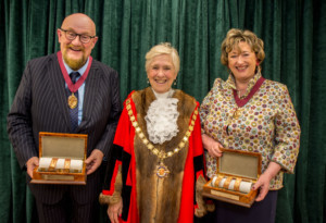 Sir Howard Panter and Dame Rosemary Squire DBE awarded Honorary Freedom of the Borough in Woking