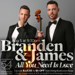 Branden and James Return To Feinstein's/54 Below This August
