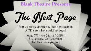 Blank Theatre Company Announces Performers For 'The Next Page'  Fundraiser
