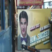 STAGE TUBE: Darren Criss, Beau Bridges' HOW TO SUCCEED Marquee Goes Up!