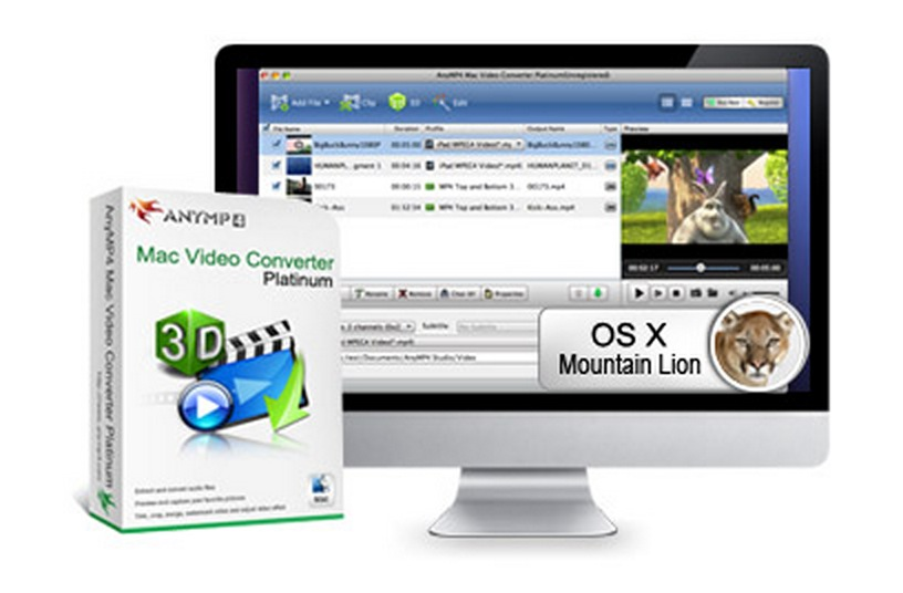 AnyMP4 Releases Mac Video Converter Platinum to Convert Videos to 2D/3D Video for All Mac Users