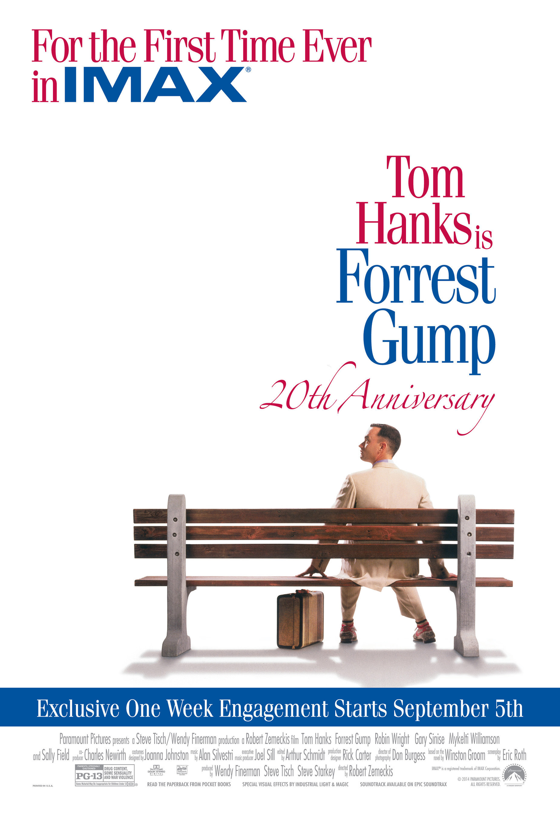 FORREST GUMP Celebrates 20th Anniversary With Exclusive One-Week IMAX Release This September