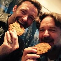 One Day More! Hugh Jackman & Russell Crowe Chow Down & Share Selfies