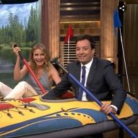 VIDEO: Jimmy Fallon & Cameron Diaz Race Kayaks Through TONIGHT SHOW Studio