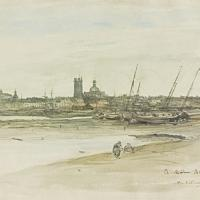 Frick Acquires ANTOINE VOLLON: VIEW OF DIEPPE HARBOR Watercolor