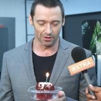 Photo Coverage: EXTRA Delivers Hugh Jackman a Birthday Cupcake!