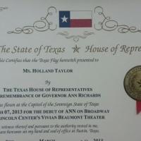 Photo Flash: Texas Flies Flag for in Honor of ANN