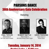 Parsons Dance's 30th Anniversary Gala to Honor Paul Taylor, David Parson & Robert Battle, 1/14