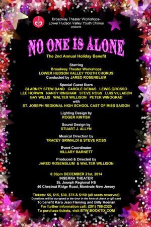 Broadway Theater Workshops-Lower Hudson Valley Youth Chorus to Host NO ONE IS ALONE Benefit
