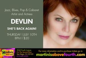 Devlin in SHE'S BACK AGAIN! Set for Martinis Above Fourth Table + Stage, 7/10