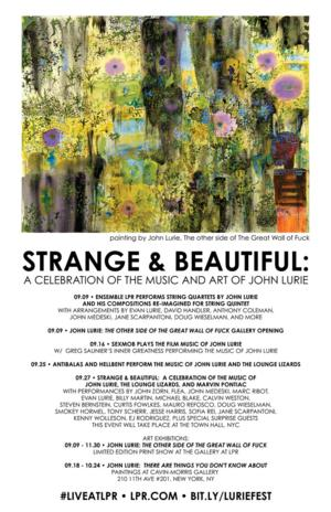 LPR to Present STRANGE & BEAUTIFUL: The Music & Art of John Lurie, 9/9-27