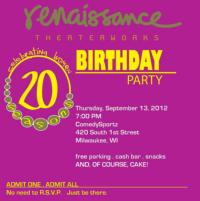 Renaissance Theaterworks Hosts Party to Celebrate 20th Season, 9/13