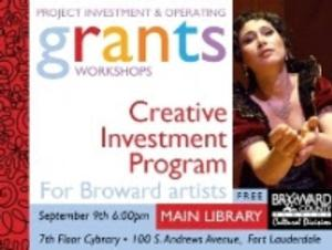 Broward Cultural Division to Host Creative Investment Program Workshop for Broward-Based Artists, 9/9