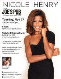 Nicole Henry to Play Joe's Pub, Nov 27