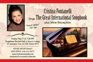 Cristina Fontanelli to Sing 'The Great International Songbook' at Engelman Recital Hall, 5/9