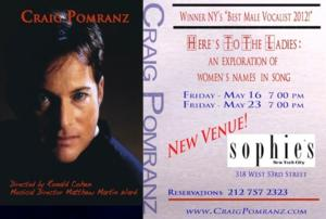 Craig Pomranz Comes to Sophie's New York, 5/16 & 23
