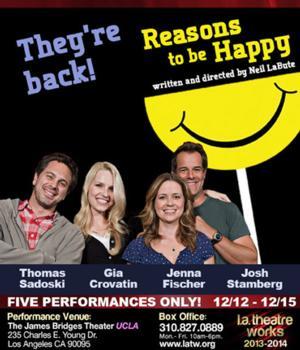 Neil LaBute, Jenna Fischer, Thomas Sadowski and More Return for LATW's REASONS TO BE HAPPY, Now thru 12/15