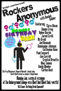 ROCKERS ANONYMOUS: GENDER BENDER BIRTHDAY BASH to Return to Underground Lounge, 1/14