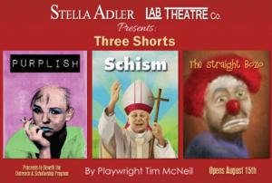 Stella Adler Lab Theatre Company Presents PURPLISH, SCHISM & THE STRAIGHT BOZO, Now thru 9/7