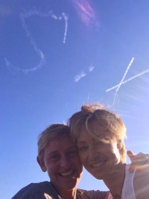 Ellen DeGeneres & Portia de Rossi Look Up to the Skies to Celebrate 6th Wedding Anniversary