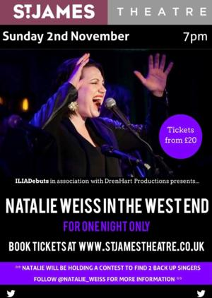 Natalie Weiss Coming to St. James Theatre, 2 November