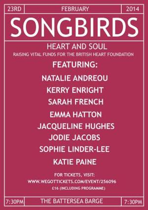 Battersea Barge to Present SONGBIRDS: HEART AND SOUL Charity Concert, Feb 23