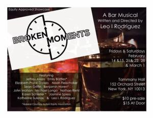 Tammany Hall to Present New Musical BROKEN MOMENTS: A BAR MUSICAL, 2/14-3/1
