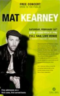 Full Sail University Adds Mat Kearney to 4th Annual Hall of Fame Concert Schedule, 2/16