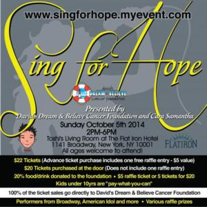 Broadway Stars Join SING FOR HOPE to Support David's Dream & Believe Cancer Foundation, 10/5