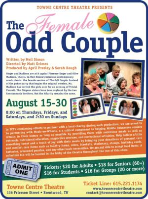 Towne Centre Theatre's Female Production of THE ODD COUPLE Opens Tomorrow