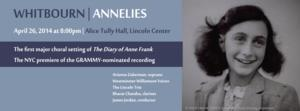 Arianna Zukerman, Westminster Williamson Voices and More Set for NYC Premiere of ANNELIES at Alice Tully Hall, 4/26