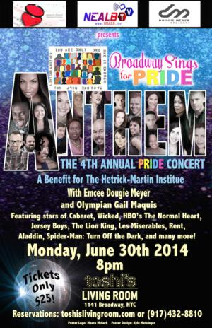 BROADWAY SINGS 4th Annual Pride Benefit Set for 6/30