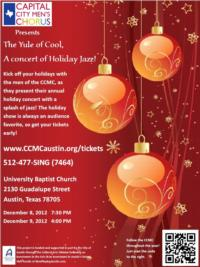 The Capital City Men's Chorus Presents THE YULE OF COOL, A CONCERT OF HOLIDAY JAZZ, 12/8 & 9