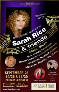 Sarah Rice & Friends Returns to Classic Quiche Cafe in NJ, 11/30