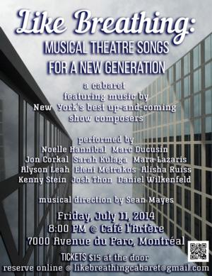 LIKE BREATHING: MUSICAL THEATRE SONGS FOR A NEW GENERATION Set for Cafe l'Artere Tonight