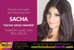 Martinis Above Fourth Table Presents SACHA SINGS SINATRA Tonight