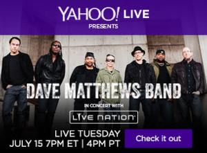 Dave Matthews Band to Kick Off Lineup for Live Nation Channel on Yahoo Screen