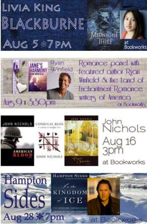 This August at Bookworks Features Livia King Blackburne, Ryan Winfield with the Romance Writers of America and More